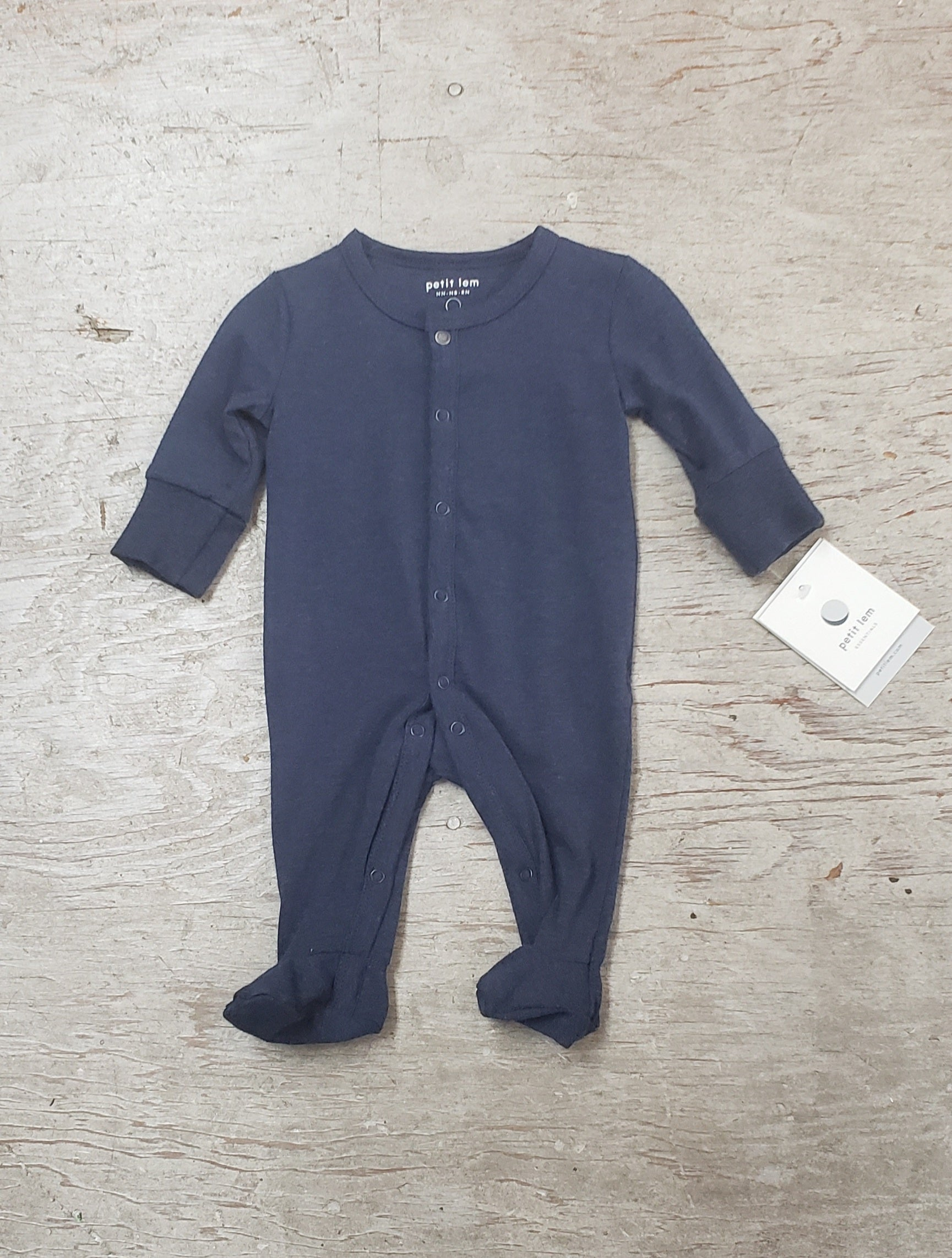Boys Navy Cotton Footie