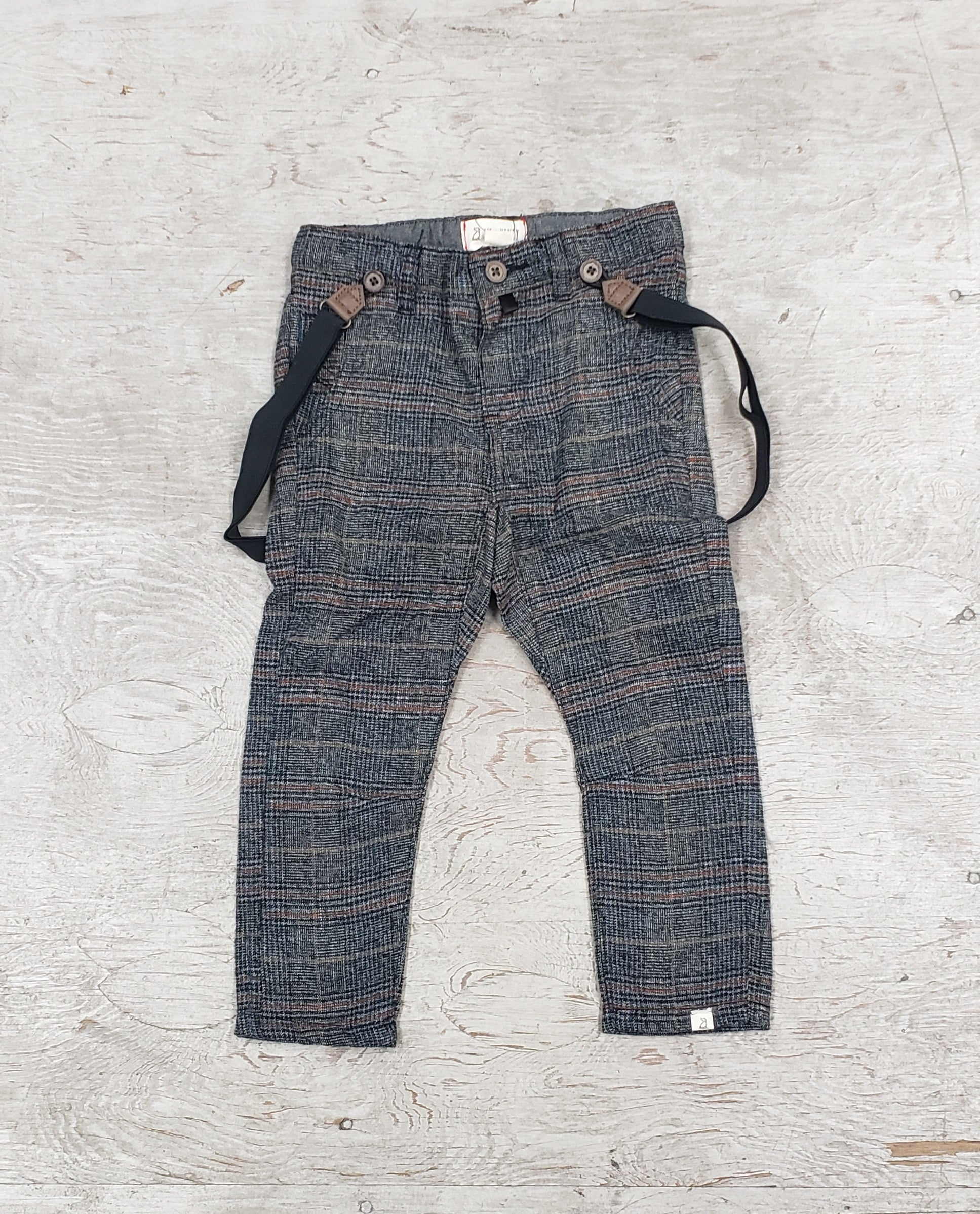 Boys  grey plaid Suspender Pants