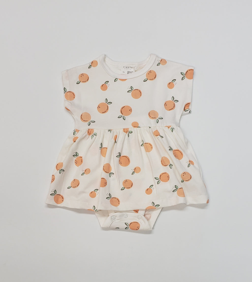 Firsts by Petit Lem - Soft Cotton Fruit-Themed Skirted Onesie with Snaps