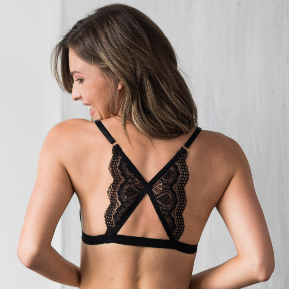 3be6f43035d80 Lace Back Front Closure Bralette - Modern Boho