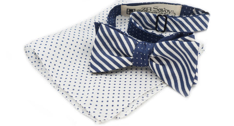 The Navy Blue Silk Bow Tie with Pocket Square