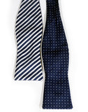The Navy Blue Striped and Polka Dot Reversible Bow Tie