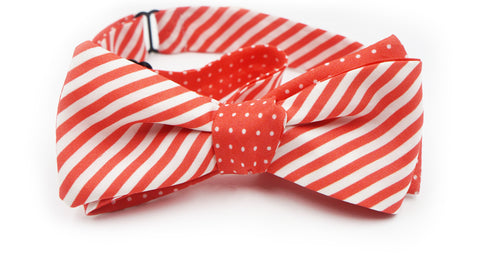 The Coral Striped Polka Dot Silk Reversible Bow Tie