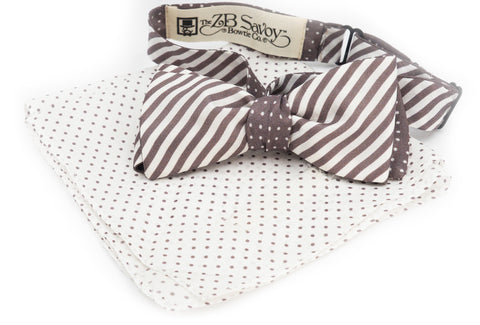 The Gray Slate Stripe Dot Reversible Bow Tie and Pocket Square