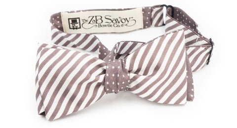 The Gray Slate Stripe and Polka Dot Silk Reversible Bow Tie