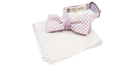 The Lavender Striped Dot Reversible Bow Tie and Pocket Square