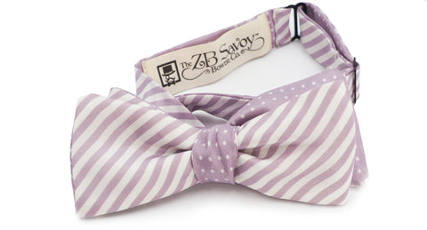 The Lavender Striped and Polka Dot Silk Reversible Bow Tie