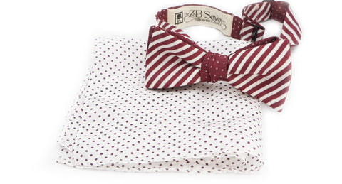 The Plum Polka Dot Silk Reversible Bow Tie and Pocket Square
