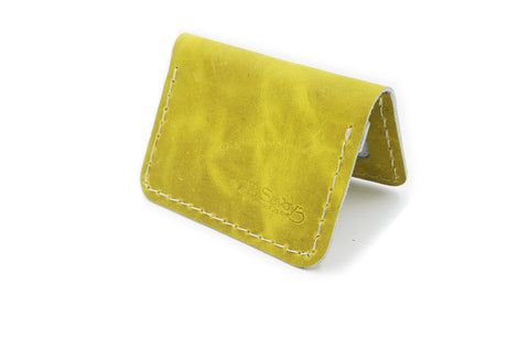 Yellow Leather 2 Pocket Slim Bi Fold Wallet with ID Pocket