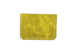 Yellow Leather 2 Pocket Slim Fold Over Wallet with ID Pocket