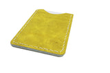 Yellow Leather Slim Card Carrier and Business Card Holder (Vertical)