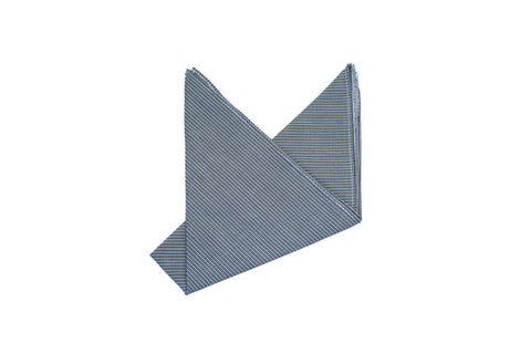 The Grey Green Cotton Pinstripe Pocket Square