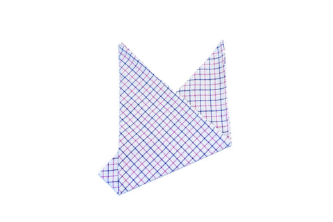 The Blue Pink Check Pocket Square