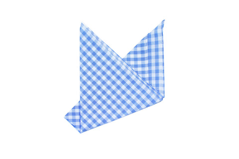 The Light Blue Check Pocket Square