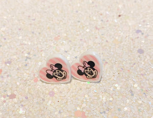 Lady mouse pink heart earrings