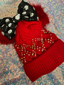 Red bling beanie