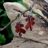 Copper Oak Leaf Earrings, Small