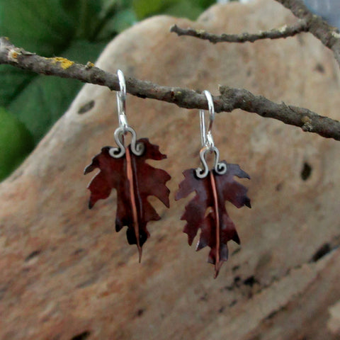 Copper Maple Leaf Earrings