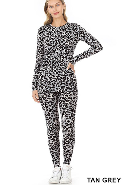 Animal Print Long Sleeve Top & Leggings Set