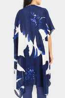 Abstract Flower Print Cover Up Kimono Poncho
