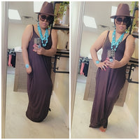 Full length harem maxi dress (DARK BROWN)