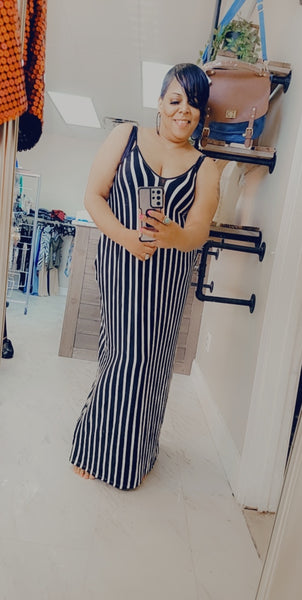 Full length striped harem maxi dress