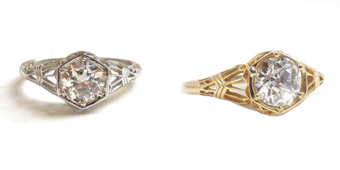 "Our Design: The Edwardian Style ""Hex Ring"" in Platinum and 18K Yellow Gold"