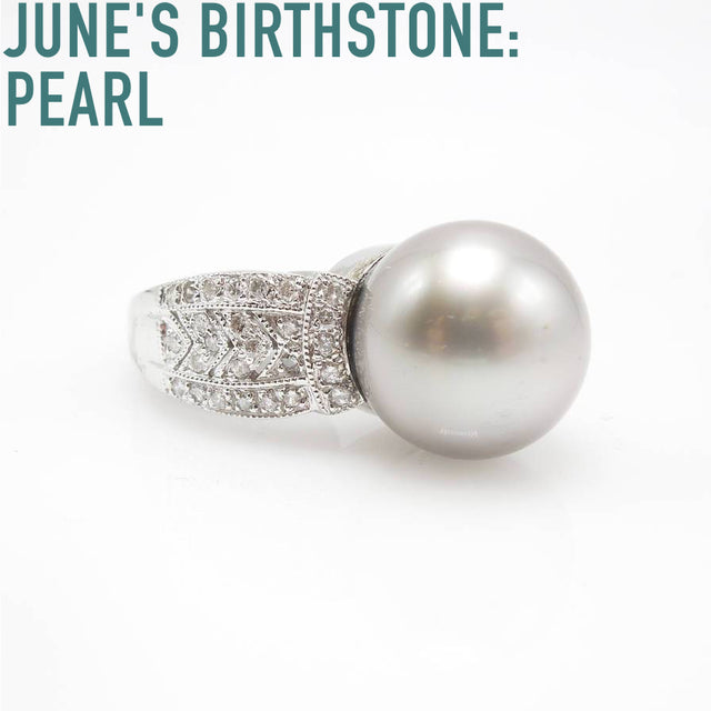 Large South Sea pearl in Art Deco style mounting with diamonds.