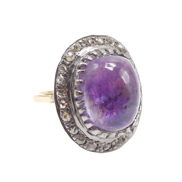 14K Yellow Gold and Sterling Silver Cabochon Amethyst and Diamond Ring