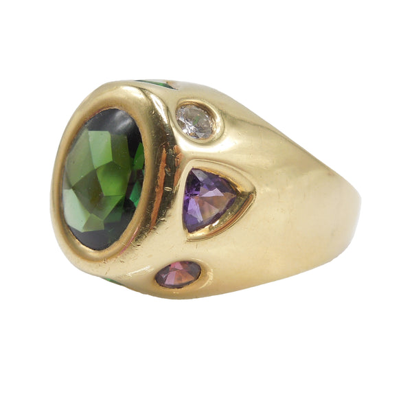 Chunky 18K Yellow Gold Ring with Tourmalines and Diamond