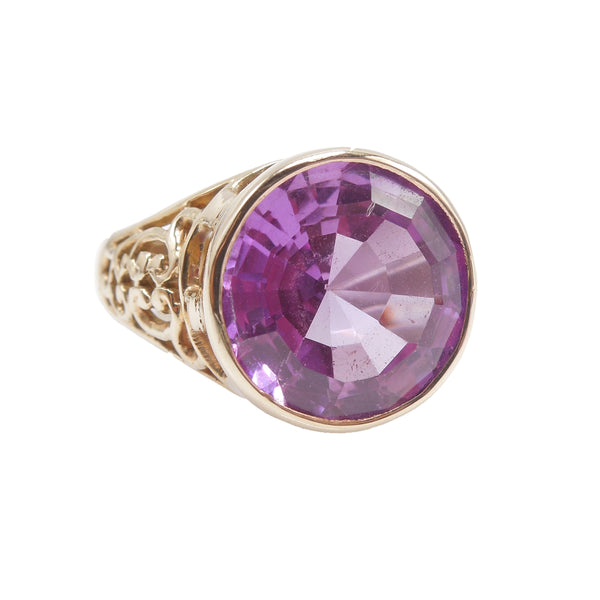 Large Bezel Set Pink Topaz in Yellow Gold