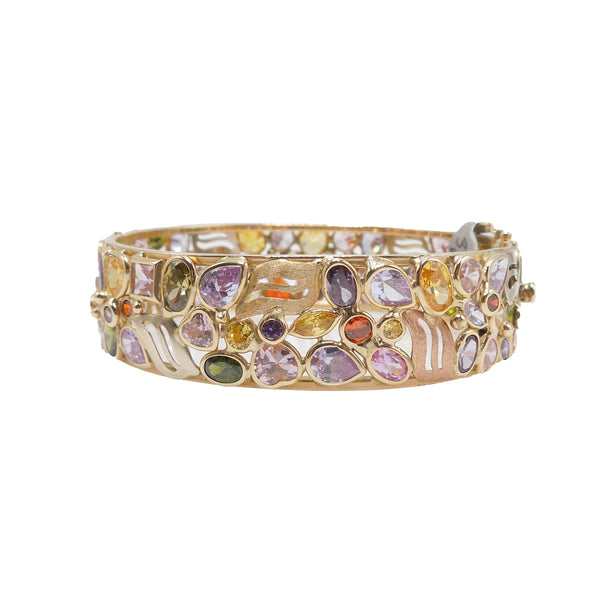 Beautiful 14K Yellow Gold and Multicolored Gemstone Bracelet
