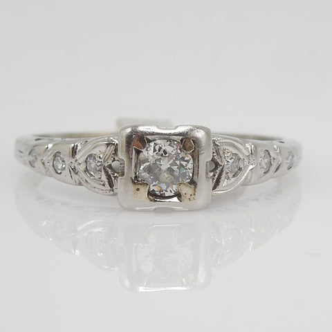 Old European Cut Art Deco Diamond Engagement Ring - 18K White Gold