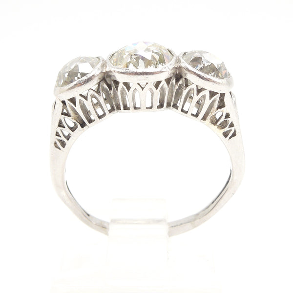 Edwardian Platinum Diamond Three Stone Ring: 2.82ct Filigree & Bezel Set