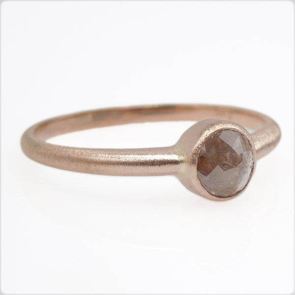 Half Carat Size Salt and Pepper Brown Rose Cut Diamond Ring in 14K Rose Gold