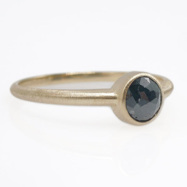 Half Carat Size Salt and Pepper Deep Gray Rose Cut Diamond Ring in 14K Yellow Gold