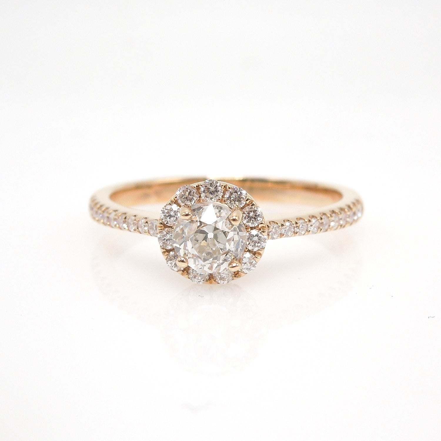 Half Carat Old European Cut Diamond in Modern Diamond Halo Mounting - 18K Rose Gold