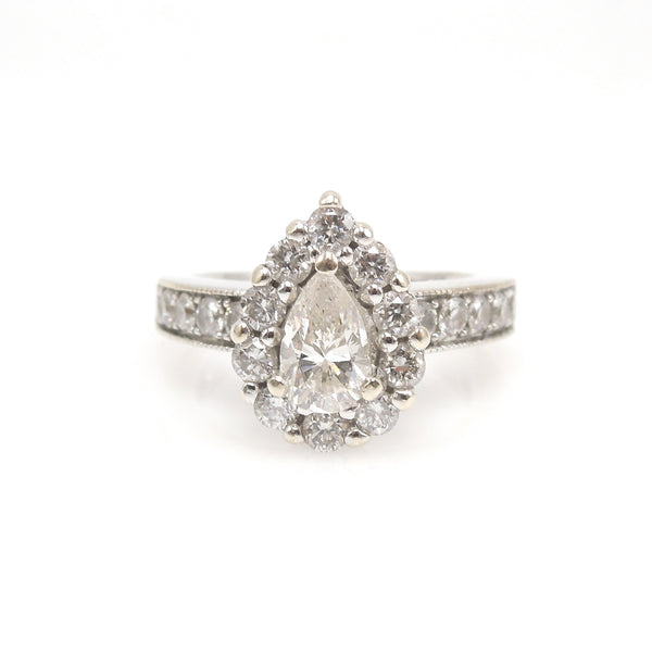 0.70ct Pear Cut Diamond with Diamond Halo - 14K White Gold - Engagement Ring