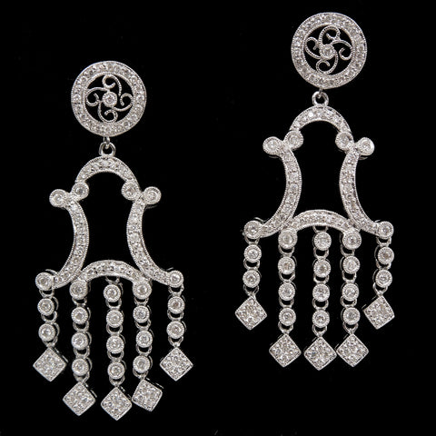 Art Deco Style Platinum and Diamond Chandelier Earrings
