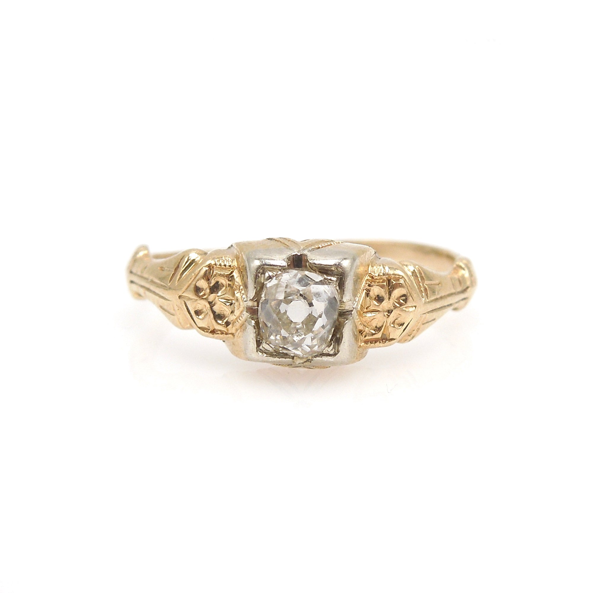 Quarter Carat Old Mine Cut Diamond Engagement Ring in Bicolor Gold