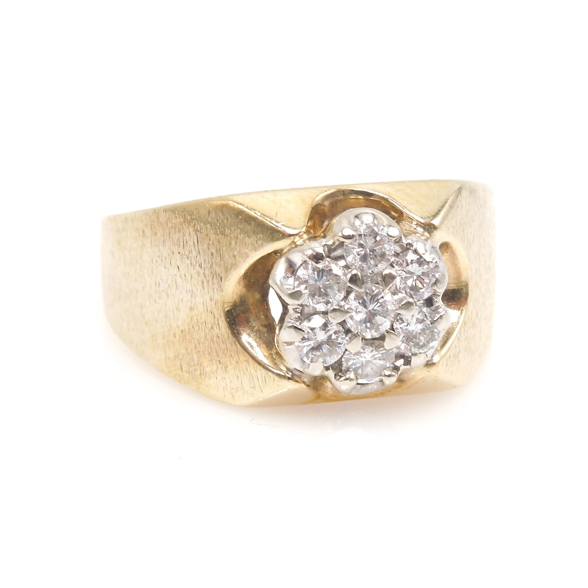 Heavy 14K Yellow Gold and Diamond Man's Ring