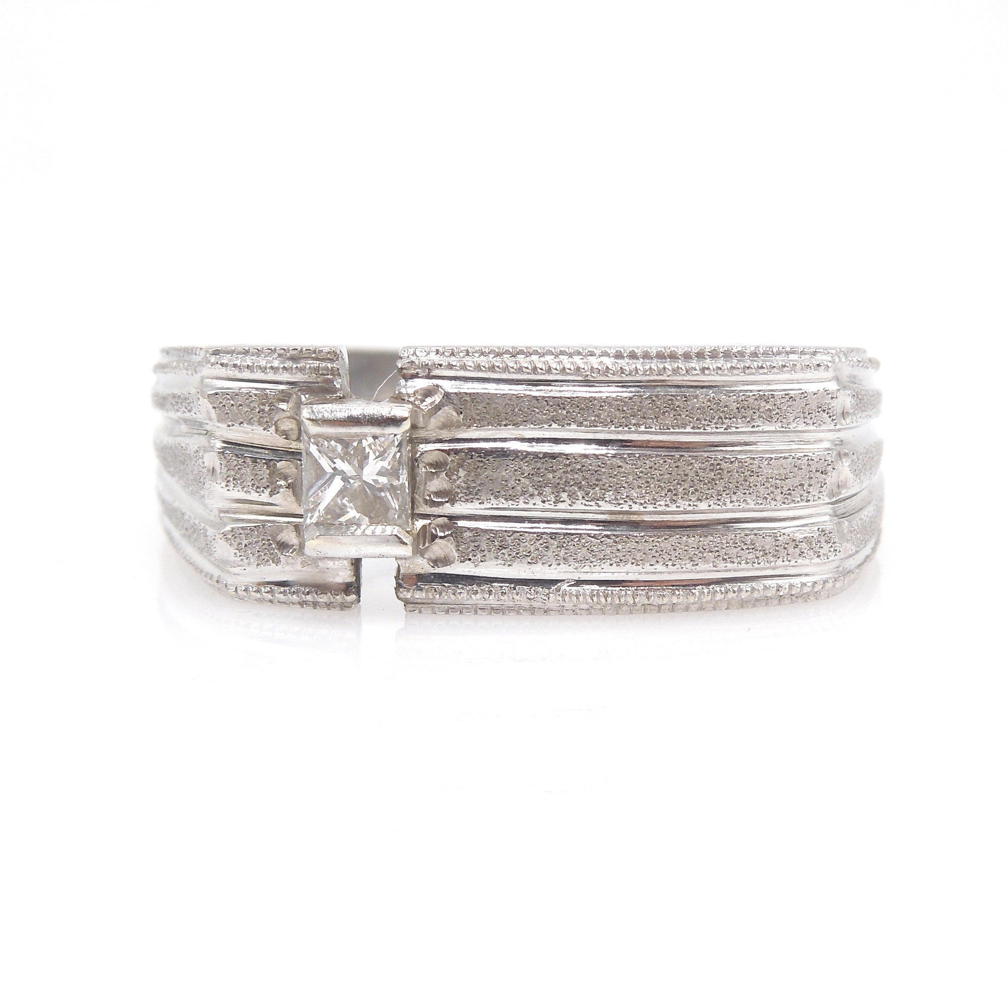 Custom Made Gents White Gold and Princess Cut Diamond Ring