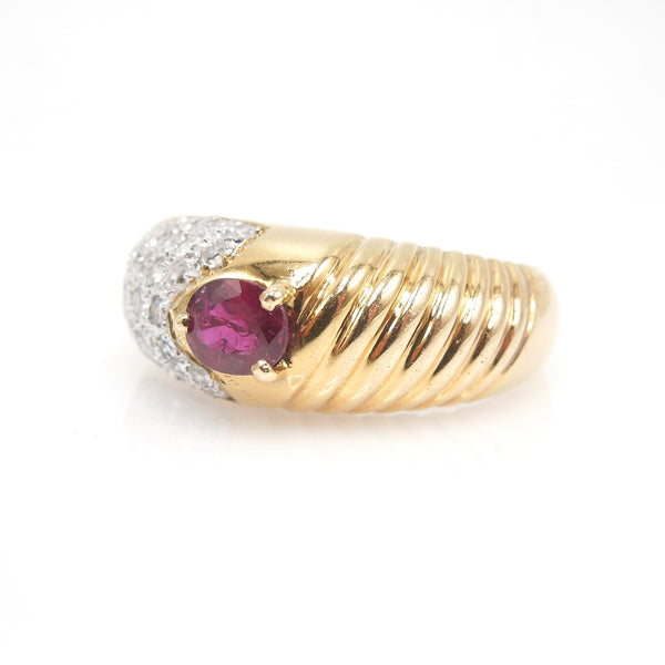 1980's Ruby, Diamond, and Gold Ring