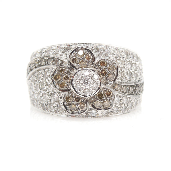 Wide Brown and White Diamond Flower Band - White Gold