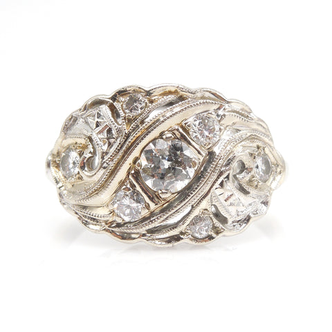 Retro 14K White Gold and Diamond Cocktail Ring
