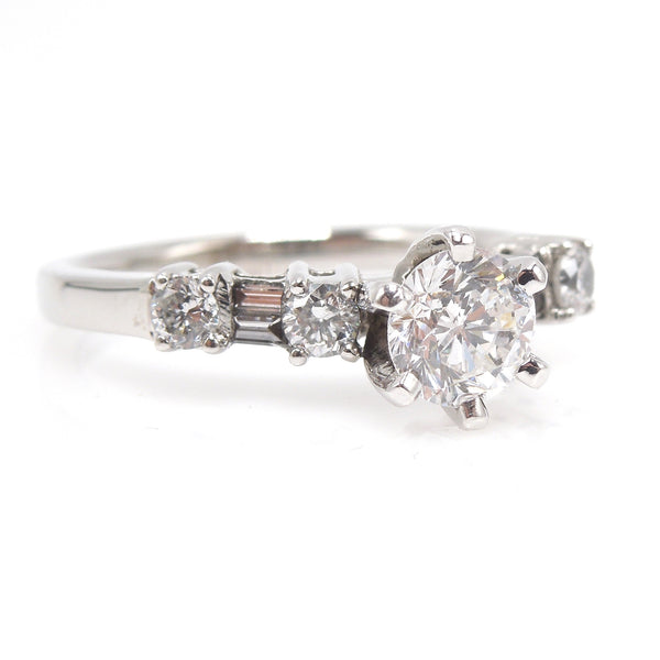 Vintage 1.08 ct Total Weight Diamond Engagement Ring in White Gold