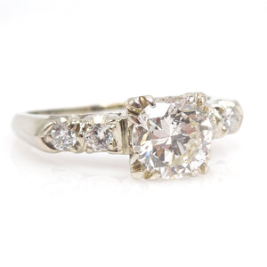 Classic 1 Carat Diamond Ring with Four Accent Diamonds in 14K White Gold