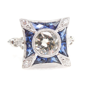 0.85ct Old European Cut Diamond - Art Deco Style Square Mounting - French Cut Sapphires