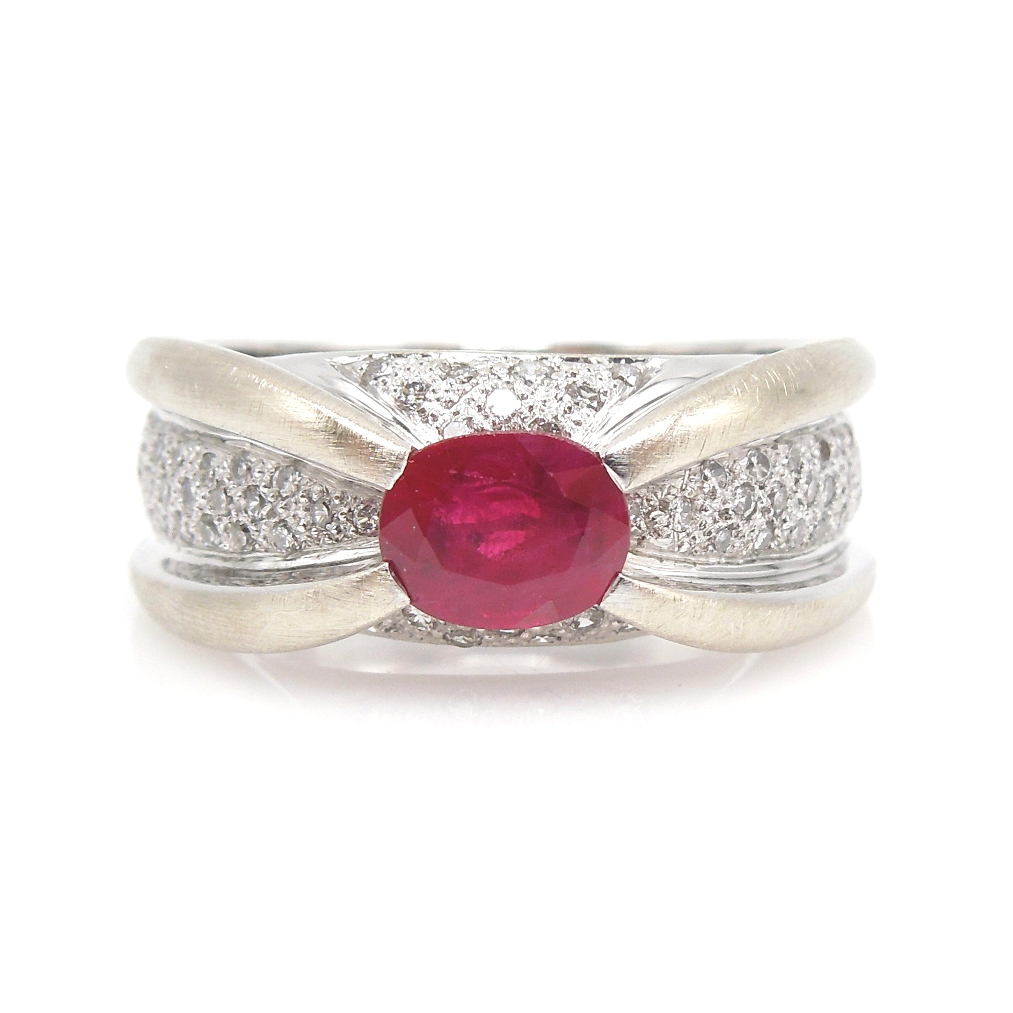 Retro Inspired Diamond and Ruby Criss Cross Ring