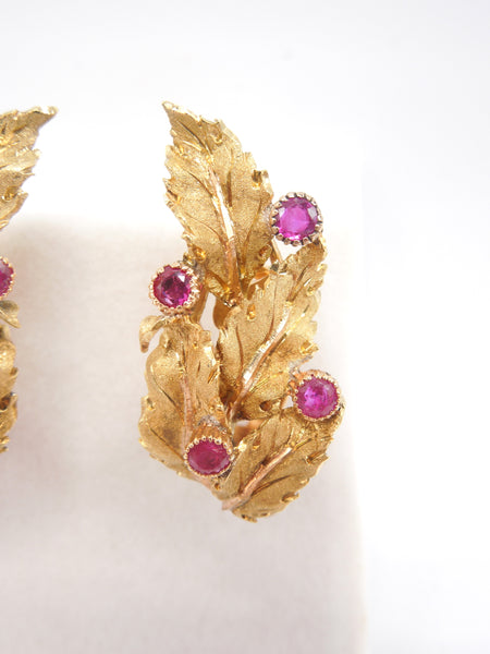 Buccellati 18K Yellow Gold and Ruby Earrings